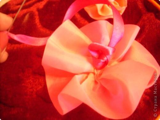 1).Ширина ленты зависит от вашего желания: какой размером желаете сделать цветок (большой, средний...) 2).Длина 25 - 35 см. 3).Подбор ткани для основы по качеству и цвету - это тоже ваше желание. На первом фото показан срезанный край ленты, чтобы удобно было вставлять в иглу. фото 10