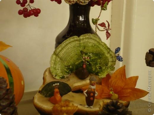 """Поделки были сделаны для конкурса на тему """"Осенняя фантазия"""". Павлины сделаны из гриба, который растет на дереве. фото 1"""
