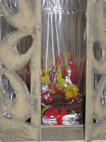 Макет: камин из коробок к новому году МК фото 16