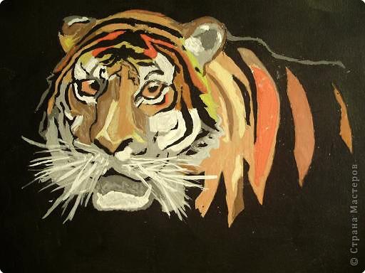 Рисование и живопись: тигр. Работа моего мужа