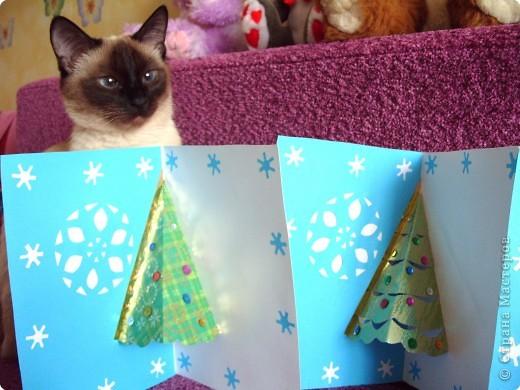 Лицевая сторона открытки. А новогодняя красавица дальше. Хотя очень многим понравилась фиолетовая открыточка...сказали она нежнее. Нужно было сделать 15 штук за почти неделю. фото 3