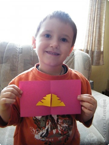 Аппликация: открыточка сына на Старый Новый год бабушке фото 1
