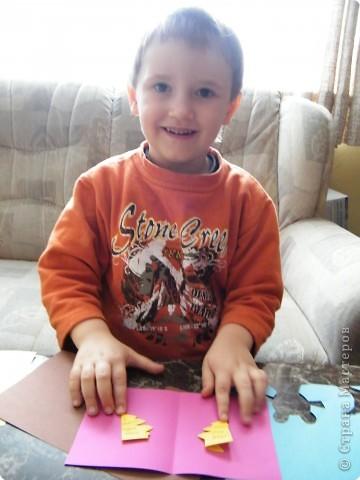Аппликация: открыточка сына на Старый Новый год бабушке фото 2
