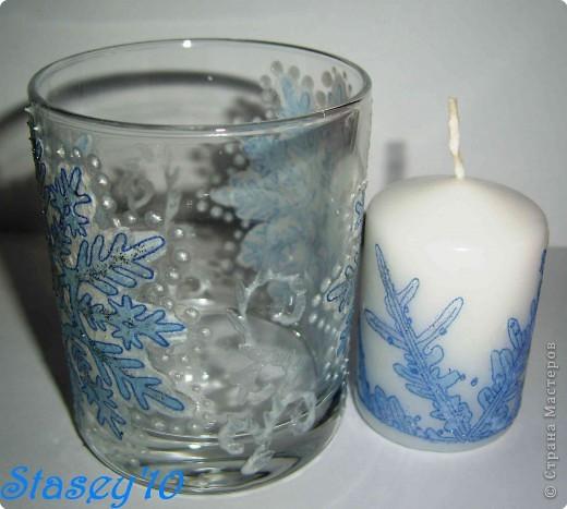 "Декупаж: Подсвечник и свеча ""Снежинки"""