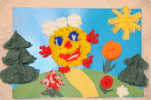 Идея работы - мамАня, выполнил Василий 7 л (торцевание, цветы из салфеток) фото 1