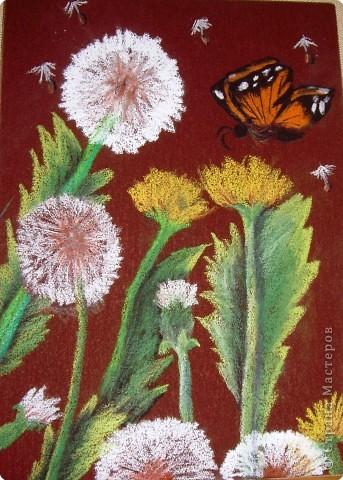 Рисование и живопись: Одуванчики на наждачной бумаге