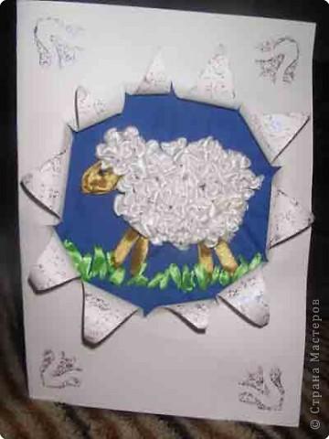 Где-то видела вышитую овечку. Попробовала сама. получилась очаровательная открыточка.