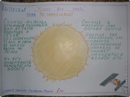"""Стенгазета: """"Хочу всё знать"""" Тема: """"Солнце"""" Выполнил ученик 1 класса: Семёнов Михаил фото 1"""