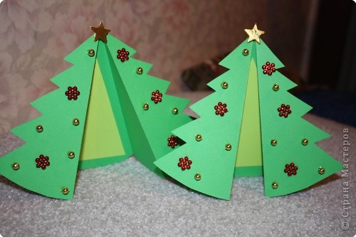 Мастер-класс Новый год Моделирование конструирование Открытка-елка Бумага фото 1
