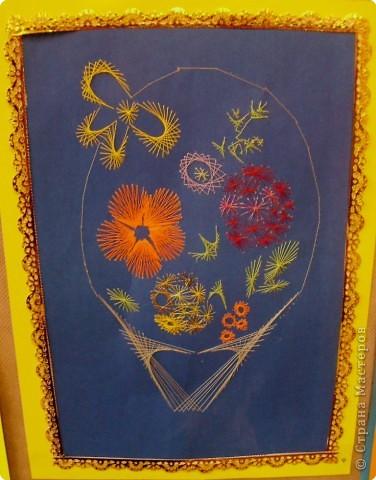 Изонить: корзина с цветами