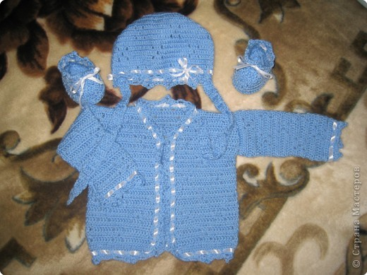 Комплектик для моего будущего сынульки... Мое первое творение в этом виде рукоделия!