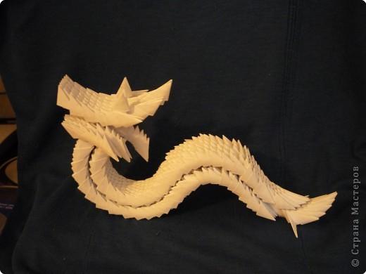 Китайский дракон:  Всего использовано 811 треугольных модулей размером примерно 37×53 мм. Это примерно около 26 листов формата А4. фото 18