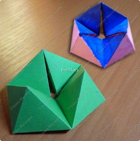 Флексагоны - это многоугольники, сложенные из полосок бумаги прямоугольной или более сложной, изогнутой формы, которые обладают удивительным свойством: при перегибании флексагонов их наружные поверхности скрываются внутри, а ранее скрытые поверхности выходят наружу. фото 1