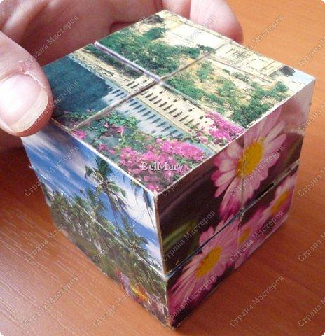 Кубик-трансформер - интересная поделка. Из этой поделки легко сделать сувенир - подвижный календарь, или головоломку по сбору из отдельных кусочков изображения единой картинки. На сторонах кубика можно разместить 9 разных картинок - шесть квадратных снаружи и три прямоугольных внутри. фото 7