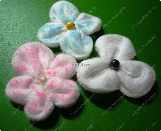 Цветочки из ватных дисков МК фото 7