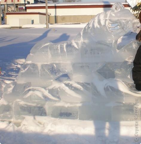 Вот такие фигуры из снега и льда делают умельцы-мастера в нашем городе Полюбуйтесь и вы. 1.Тигр - символ 2010 года. фото 7
