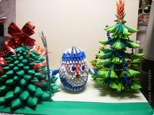 Оригами модульное: Дед мороз и ёлочки