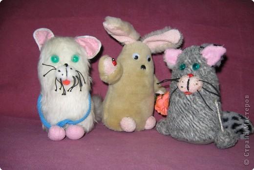 Белую кошечку шила Алина (2 кл), зайчика - Юлия (3кл), серую кошечку - Соня (2 кл). фото 1