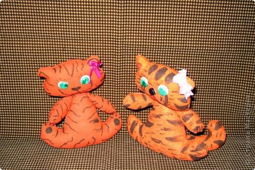 Работы двух подружек Сони и Алины ( 2 кл). Тигрята сшиты из вафельной ткани. фото 3