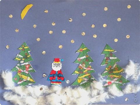 Открытка из не получившейся 3-х мерной елочки и обрезков Деда Мороза рис.3( https://stranamasterov.ru/node/27613?u=) Очень понравилось работать с ватой! С Новым Годом!
