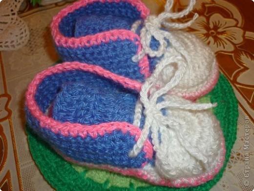 Вязание крючком: вязаные ботиночки фото 1