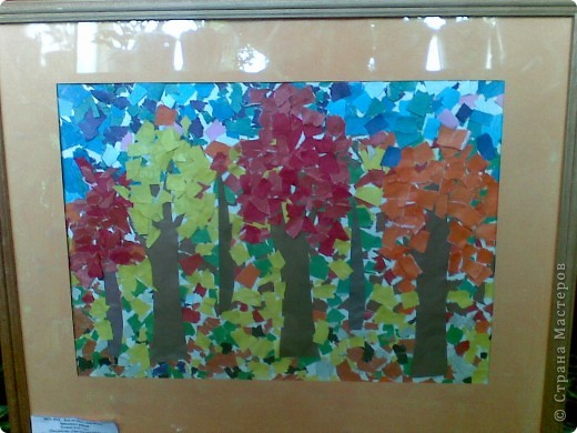 """Такой """"Осенний пейзаж"""" сделала моя дочка в 4 года 8 мес. в студии """"Разноцветные ладошки"""" (преподаватель Савенкова Ольга Альбертовна). Эта работа выставлялась на городской конкурс детских работ. фото 1"""