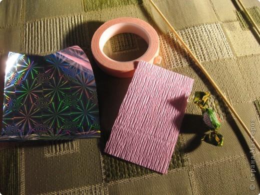 Мастер-класс Свит-дизайн Моделирование конструирование Цветы из конфет МК Бумага гофрированная фото 6
