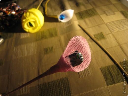 Я хочу рассказать вам как делать некоторые цветы из конфет. фото 12