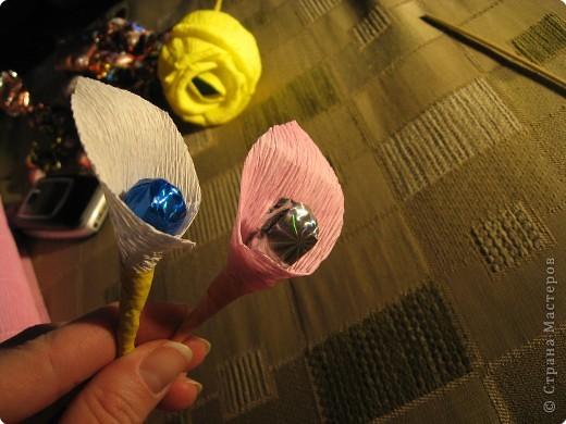 Я хочу рассказать вам как делать некоторые цветы из конфет. фото 13