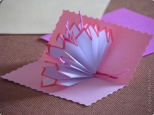Как сделать открытку с объёмным цветком, даже с самым маленьким фото 6