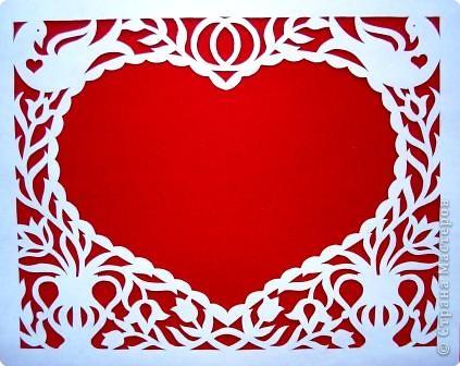 Вот такую открыточку можно вырезать ко дню влюбленных, но мне кажется она больше подходит для свадьбы. фото 1