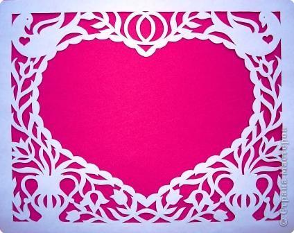 Вот такую открыточку можно вырезать ко дню влюбленных, но мне кажется она больше подходит для свадьбы. фото 2