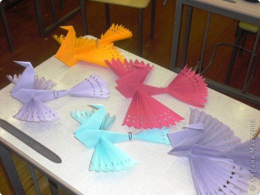 Как сделать из бумаги птицу мастер класс
