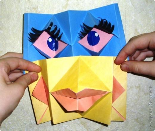Поделка изделие 1 апреля Оригами МОРГАЛКИ и БУМАЖНЫЙ ПОЦЕЛУЙ Бумага фото 1