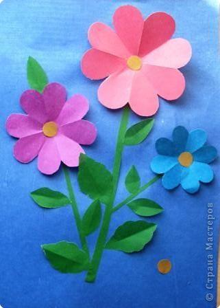 Аппликация цветок ромашка бумага