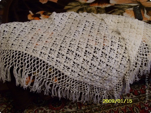 Вязание крючком Белый платок