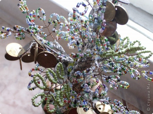 Бисероплетение: моё первое денежное деревце фото 4