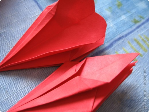 """цветок состоит из 5 элементов. один модуль """"лилия"""" зеленого цвета, бумага размером 10см.  два модуля красного или розового цвета(приближенного к цвету маковых лепестков) размер 9см.  и, серединка. состоит из двух модулей сделанных как модуль""""супер шар"""". один черного цвета (6см) и желтого цвета (5см). для сердцевинки, делаем модули  как для """"супер шара"""", только в укороченном варианте - не разворачивая модуль внутрь. фото 17"""