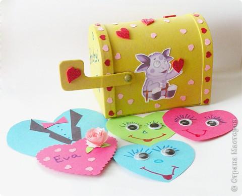 Почтовый ящик для валентинок и валентинки в детский сад. фото 1