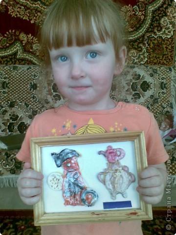 подарок бабушке, котик у самовара (Анна 4 года) фото 1