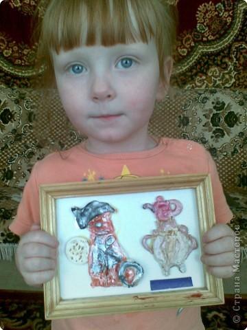 подарок бабушке, котик у самовара (Анна 4 года) фото 2