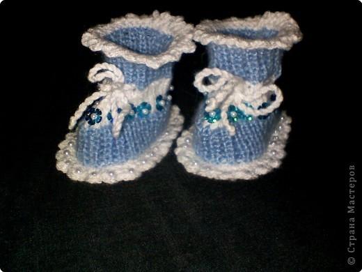 Вязание - МК пинетки с бусинками.