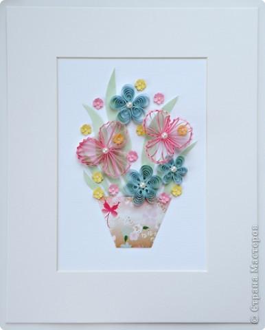Квиллинг: Цветы с бусинками фото 4