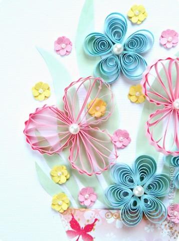 Квиллинг: Цветы с бусинками фото 2