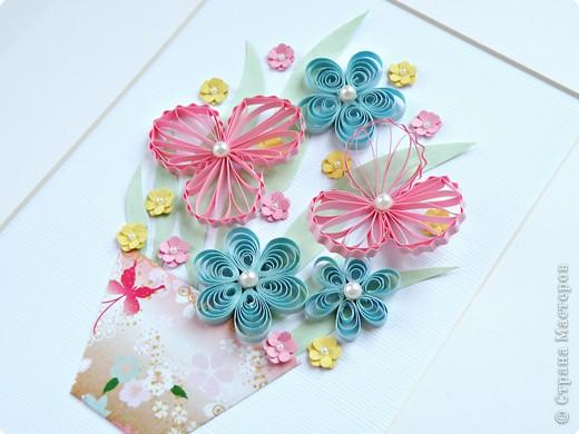 Квиллинг: Цветы с бусинками фото 3