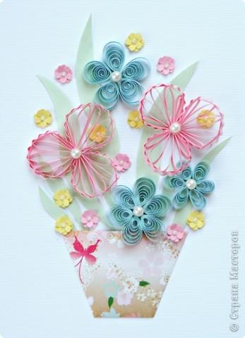 Квиллинг: Цветы с бусинками фото 1