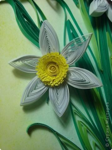 Картина панно рисунок 8 марта День матери День рождения День учителя Квиллинг Букет из нарциссов Бумажные полосы Пастель фото 2