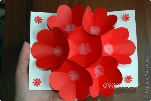Как сделать объемную открытку с цветами
