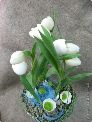 В нашем учреждении работает замечательный флорист. Ежегодно у нас проходят мастер-классы по флористике. В этом году мы выполняли композицию к Пасхе. Посмотрите работы, они все разные, хотя сделаны из одинаковых материалов: тюльпаны, яичная скорлупа, перья, бергасс, мох. И родилось чудо, которое радует нас и удивляет других. Спасибо, нашему педагогу.  Земля и солнце, Поля и лес - Все славят Бога: Христос Воскрес!     В улыбке синих Живых небес Всё та же радость: Христос Воскрес!  Вражда исчезла, И страх исчез. Нет больше злобы - Христос Воскрес!  Как дивны звуки Святых словес, В которых слышно: Христос Воскрес!  Земля и солнце, Поля и лес - Все славят Бога: Христос Воскрес!  (Л. Чарская)   фото 2