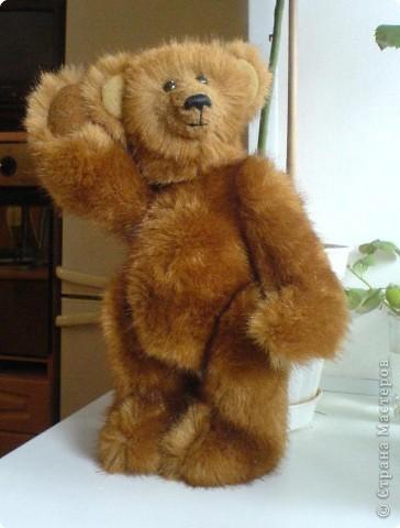 Наконец-то выкладываю своего первого мишку Тедди. Знакомьтесь - Оптимист. Сшит из искусственного меха (мохер пока не научилась боюсь брать - слишком дорого). Сшила его на день рождения дочки. фото 2
